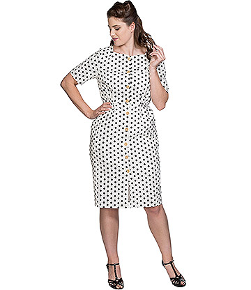 Banned Polka Button Up Dress (White)