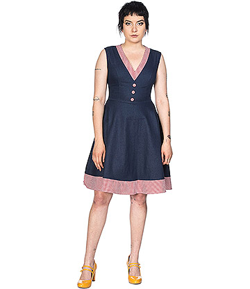 Banned Diner Days Vintage Denim Dress (Navy)