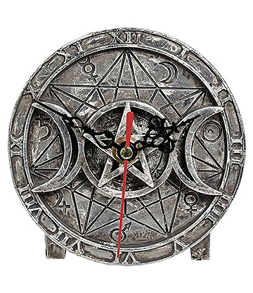 Alchemy Wiccan Desk Clock (Silver)