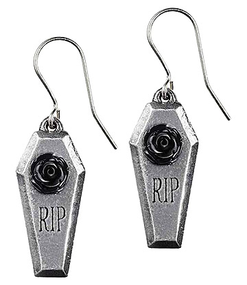 Alchemy Gothic RIP Rose Dropper Earrings (Silver)