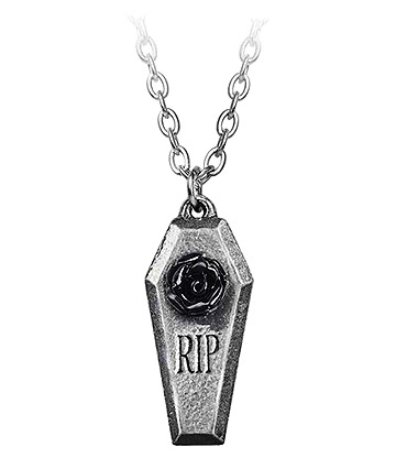 Alchemy Gothic RIP Rose Pendant Necklace (Silver)