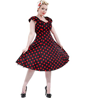 H&R London Polka Dress (Black/Red)