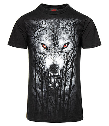 Spiral Direct Forest Wolf T Shirt (Black)