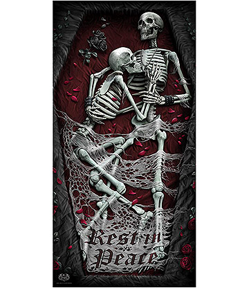 Spiral Direct Rest In Peace Bath Towel (Black/Red)