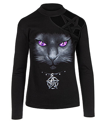 Spiral Direct Black Cat Pentagram Longsleeve Top (Black)