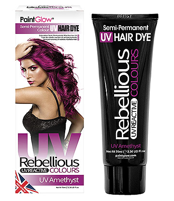 Paintglow Rebellious Colours Semi-Permanent UV Hair Dye 70ml (Amethyst)