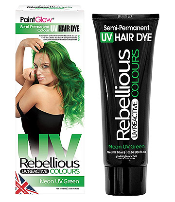 Paintglow Rebellious Colours Semi-Permanent UV Hair Dye 70ml (Neon Green)