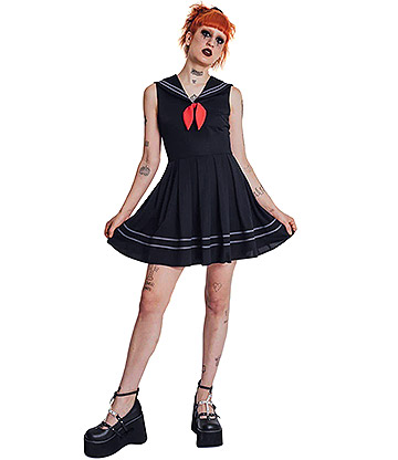 Jawbreaker Gothic School Sailor Dress (Black)