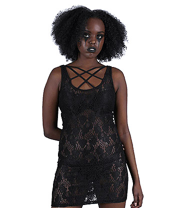 Jawbreaker Vamp Lace Bodycon Dress (Black)