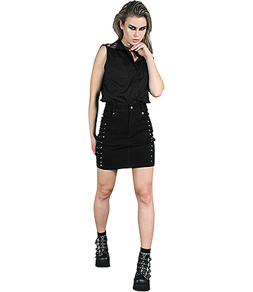 Jawbreaker Edge Pinned Skirt (Black)