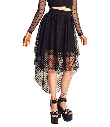 Jawbreaker Heartcore High Low Skirt (Black)
