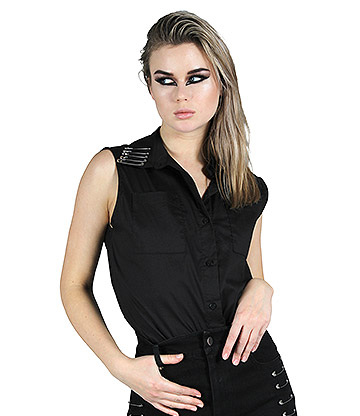 Jawbreaker Edge Best Friend Pinned Top (Black)
