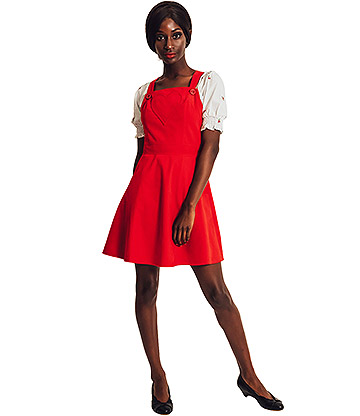 Voodoo Vixen Donita Corduroy Pinafore Dress (Red)