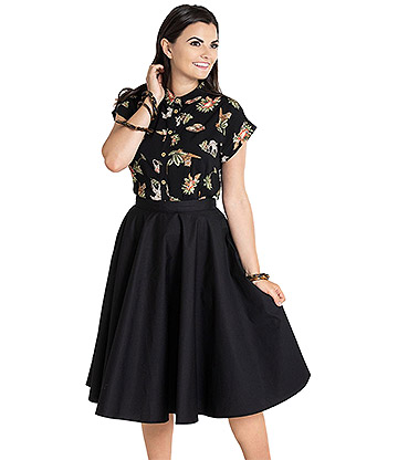 Hell Bunny Paula 50s Skirt (Black)