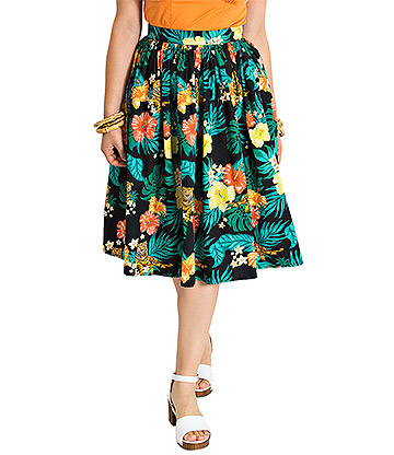 Hell Bunny Bali Jungle Tiger 50s Skirt (Multicoloured)