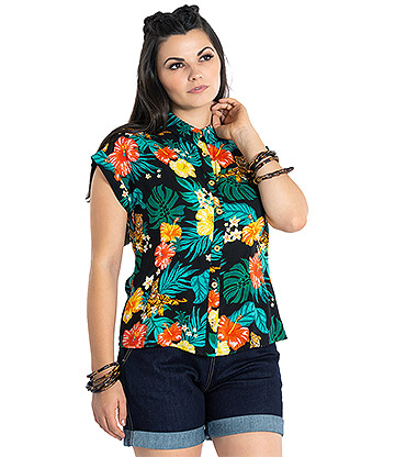 Hell Bunny Bali Jungle Tiger 50s Shirt (Multicoloured)