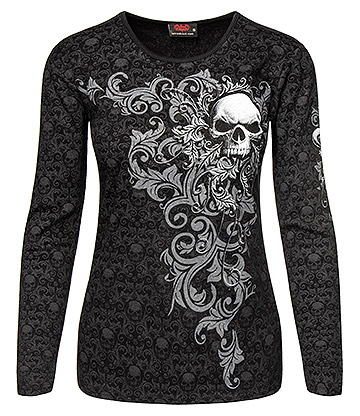 Spiral Direct Skull Scroll Long Sleeve Top (Black)