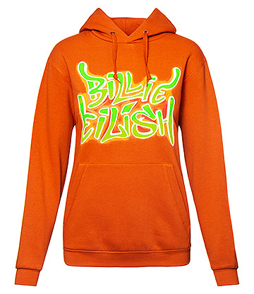 Official Billie Eilish Airbrush Flames Hoodie (Orange)