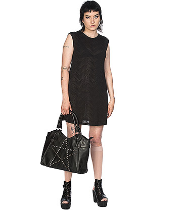 Banned Future Flapper Geo Bar Back Vest Dress (Black)