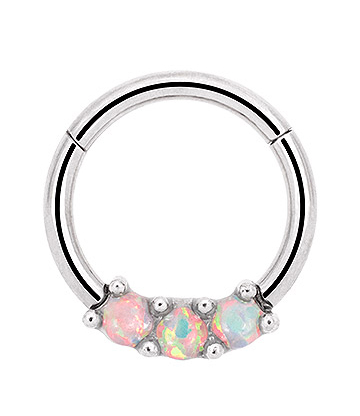 Blue Banana 8mm Hinged Stainless Steel Septum Ring (Opal)