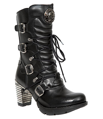 New Rock M-TR003-VS1 Vegan Heeled Boots (Black)