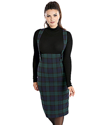 Hell Bunny Evelyn Pinafore Skirt (Green)