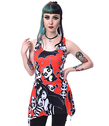 Heartless Miss Panda Sleeveless Vest Top (Red/Black)