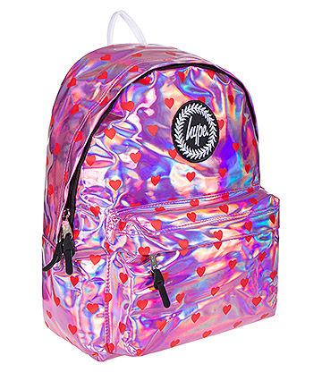 Hype Red Hearts Holographic Backpack (Pink)