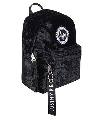 Hype Velour Crest Mini Backpack (Black)