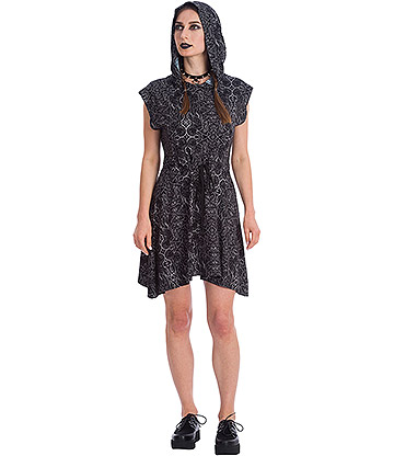 Banned Esoteric Hooded Dress (Black)