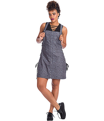 Banned Creepy Spider Dungaree Dress (Grey)