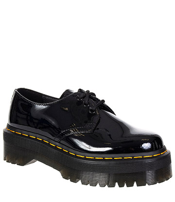Dr Martens 1461 Quad Platform Shoes (Patent Black)