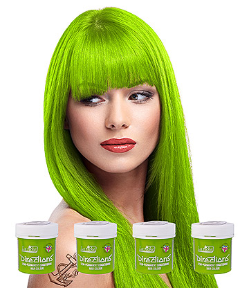 La Riche Directions Colour Hair Dye 4 Pack 88ml (Fluorescent Green)