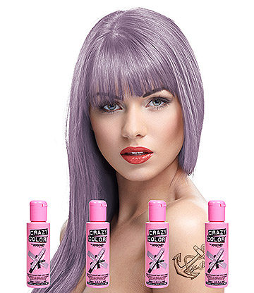Crazy Color Semi-Permanent Hair Dye 4 Pack 100ml (Ice Mauve)