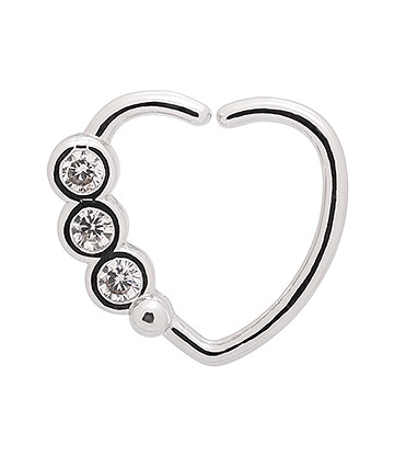 Blue Banana Round Gems 1.0mm Left Tragus Heart (Silver)