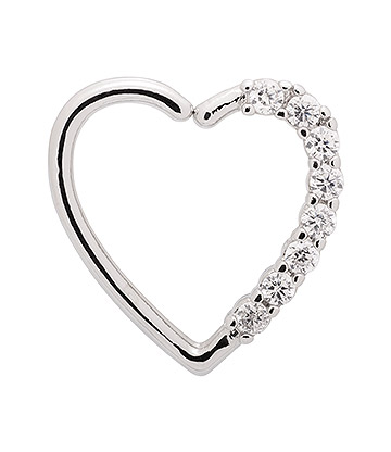 Blue Banana Silver 1.0mm Small Gems Tragus Heart (Right)