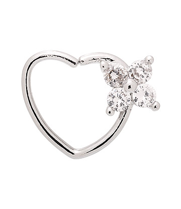 Blue Banana Silver 1.0mm 4 Gem Flower Tragus Heart (Right)