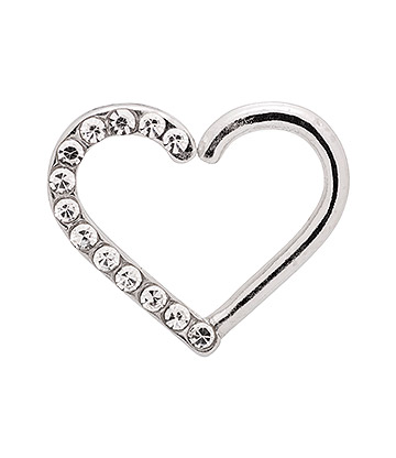 Blue Banana Silver 1.0mm Small Gems Tragus Heart (Left)