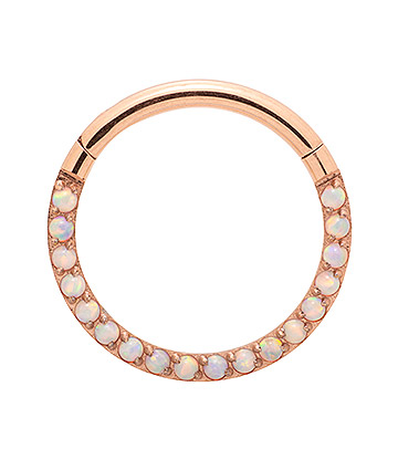 Blue Banana Rose Gold Small Gem 1.2mm Hinged Segment Ring (Half Opal)