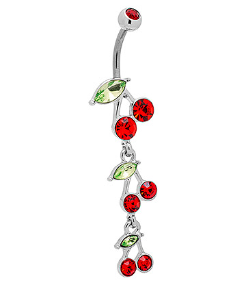 Blue Banana Surgical Steel 1.6mm Cherry Drop Navel Bar (Red)