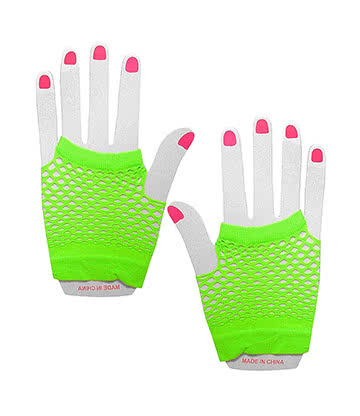 Pair of Short Fishnet Gloves (Neon Green)