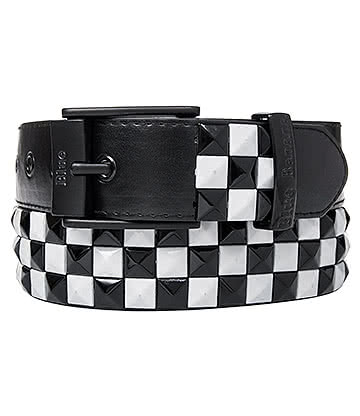 Blue Banana 3 Row Checker Studded Belt (Black/White)
