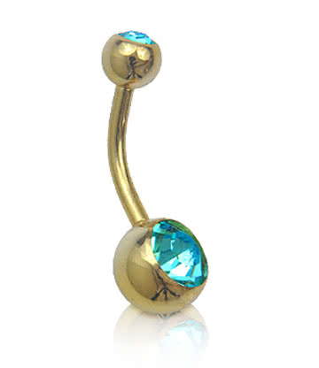 Plasma Gold Double Jewelled 1.6mm Navel Bar (Zircon)