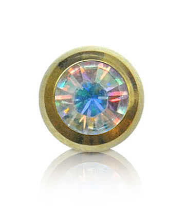 Blue Banana Plasma Gold 5mm Jewelled Ball (Aurora Borealis)