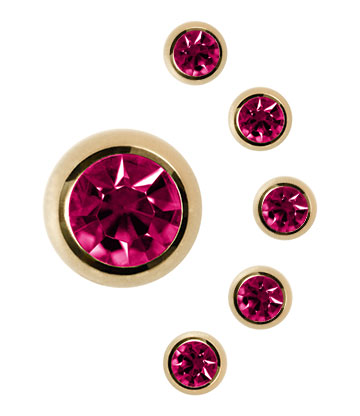 Plasma Gold Jewelled 5mm Ball (Fuchsia)