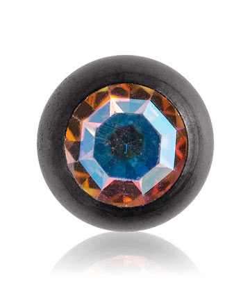 Blue Banana Black Titanium 5mm Jewelled Ball (Aurora Borealis)
