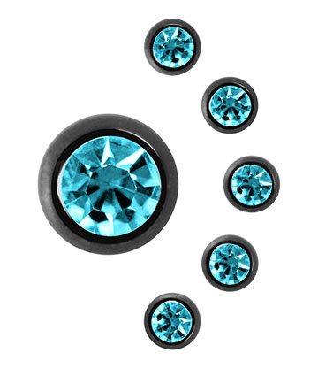 Blue Banana Black Titanium 5mm Jewelled Ball (Aqua)