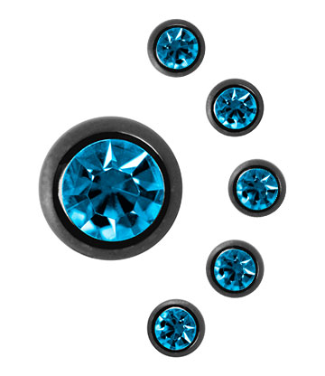 Black Titanium Jewelled 5mm Ball (Zircon)