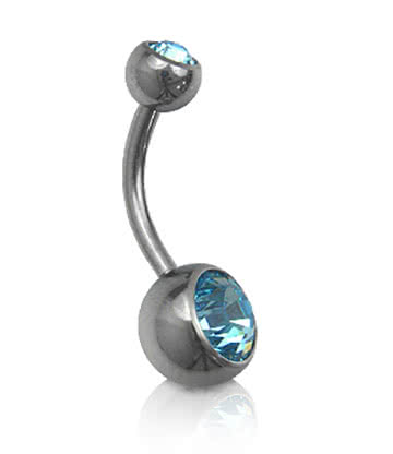 Blue Banana Polished Titanium 1.6mm Double Jewelled Navel Bar (Aqua)