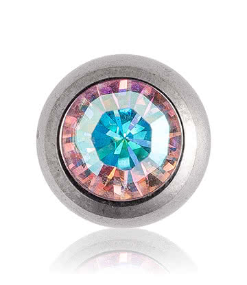 Blue Banana Polished Titanium 5mm Jewelled Ball (Aurora Borealis)